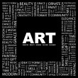 ART. Word collage on black background — Stock Vector