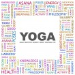 YOGA. Word collage on white background — Stock Vector