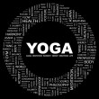 YOGA. Word collage on black background — Stock Vector