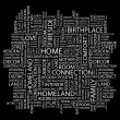 HOME. Word collage on black background — Imagens vectoriais em stock