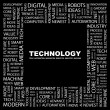 TECHNOLOGY. Word collage on black background — Stock Vector