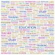 EDUCATION. Word collage on white background — Stock Vector