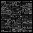 EDUCATION. Word collage on black background. — Stock Vector