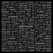 BIRTHDAY. Word collage on black background — Stock Vector