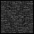 ARCHITECTURE. Word collage on black background - Stock Vector