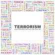 TERRORISM. Word collage on white background — Imagens vectoriais em stock