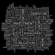 INVESTMENT. Word collage on black background. — Vector de stock