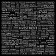 INVESTMENT. Word collage on black background. — Stok Vektör