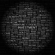 INVESTMENT. Word collage on black background. — 图库矢量图片