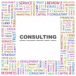 CONSULTING. Word collage on white background — Stock Vector