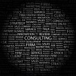 CONSULTING. Word collage on black background. — 图库矢量图片