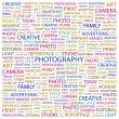 PHOTOGRAPHY. Word collage on white background - Stock Vector