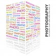 PHOTOGRAPHY. Word collage on white background — Stock vektor