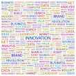 INNOVATION. Word collage on white background — Stock Vector