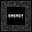 ENERGY. Word collage on black background — Stock Vector