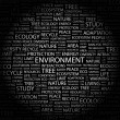 ENVIRONMENT. Word collage on black background — Stock Vector