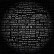 DEATH. Word collage on black background - Stock Vector