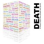 morte. palavra colagem sobre fundo branco — Vetorial Stock