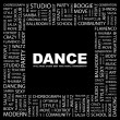 DANCE. Word collage on black background - Stock Vector