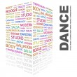 DANCE. Word collage on white background. - Stock Vector