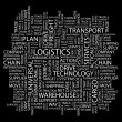 LOGISTICS. Word collage on black background — Stock Vector