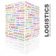LOGISTICS. Word collage on white background — Stock Vector