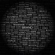 BRAND. Word collage on black background. — Stock Vector