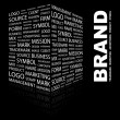 BRAND. Word collage on black background. - Image vectorielle