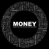 MONEY. Word collage on black background — Stock Vector