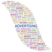 La publicité. mot collage sur fond blanc — Vecteur