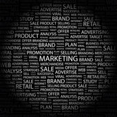 MARKETING. Word collage on black background — Stock Vector