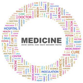 MEDICINE. Word collage on white background — Stock Vector