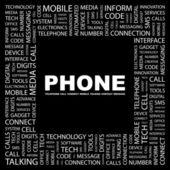 Telefonen. ordet collage på svart bakgrund — Stockvektor