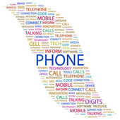 PHONE. Word collage on white background — Stock Vector