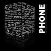 PHONE. Word collage on black background — Stock Vector