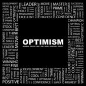 OPTIMISM. Word collage — Stock Vector