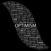 OPTIMISM. Word collage — Vettoriale Stock