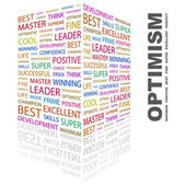 OPTIMISM. Word collage on white background — Stock Vector