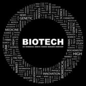 BIOTECH. Word collage on black background — Stock Vector