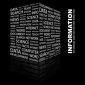 INNOVATION. Word collage on black background — Stock Vector