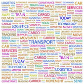 TRANSPORT. Word collage on white background — Stock Vector