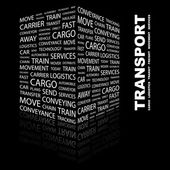 TRANSPORT. Word collage on black background — Stock Vector