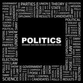 POLITICS. Word collage on black background — Stock Vector