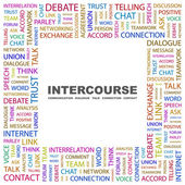 INTERCOURSE. Word collage on white background — Stock Vector