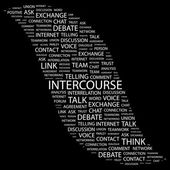 INTERCOURSE. Word collage on black background — Stock Vector