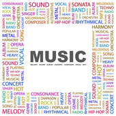 MUSIC. Word collage on white background — Stock Vector