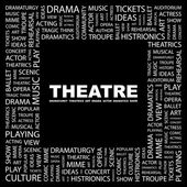 THEATRE. Word collage on black background — Stock Vector