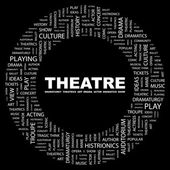 THEATRE. Word collage on black background — Cтоковый вектор