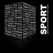 SPORT. Word collage on black background — Stock Vector