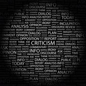 CRITICISM. Word collage on black background — Stock Vector